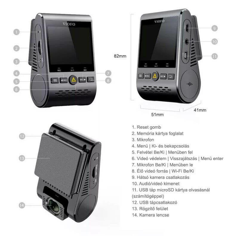 Viofo autós kamera gombok, csatlakozók kiosztása