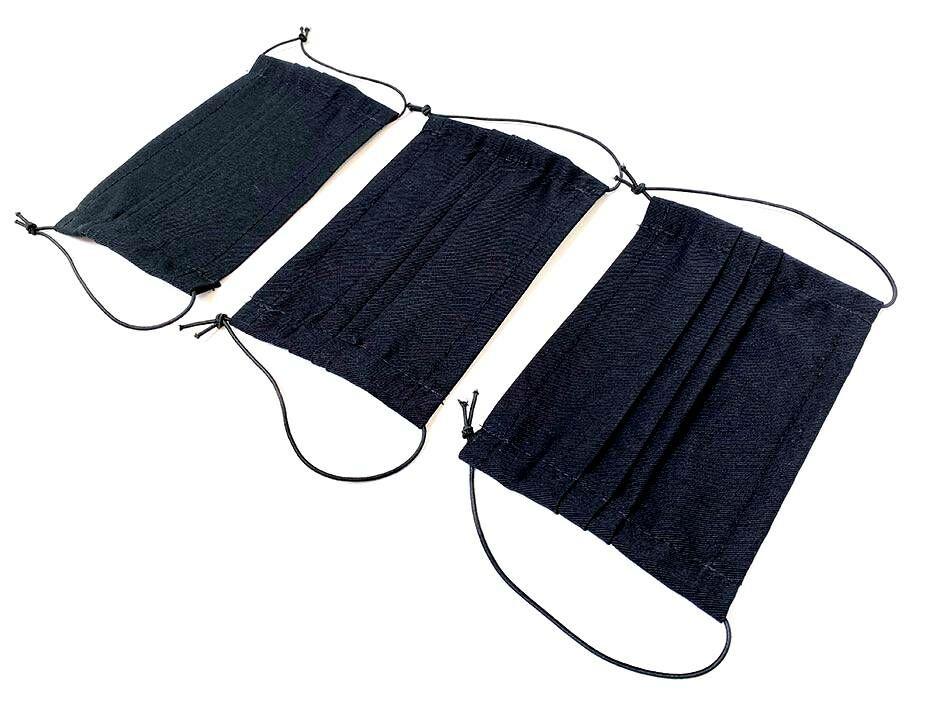Textil anyagból készült fekete szájmaszk, fekete színben. Három darab.